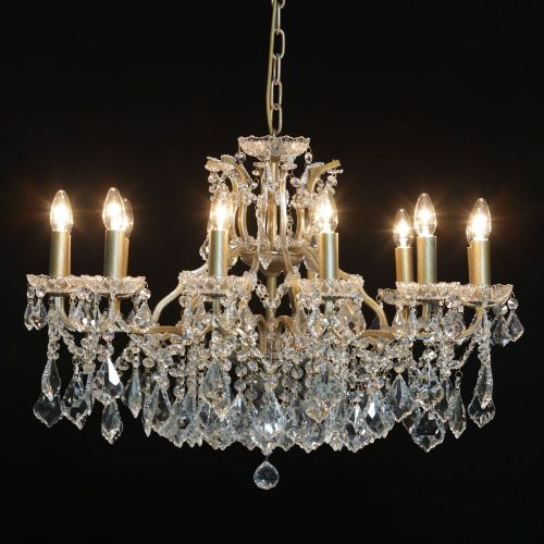 Antique French Cut Glass Gold Chandelier 12 arms